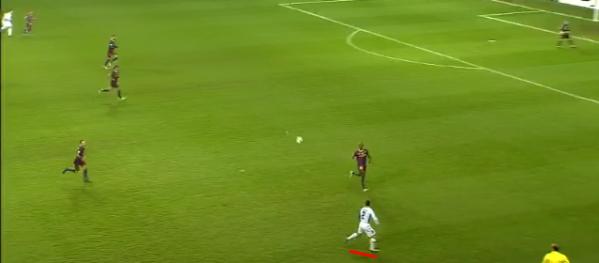 Full-back Zdenek Pospech finds himself high up the pitch against Barcelona